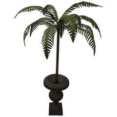Vintage Palm Frond Tree Leaf Metal Tole Urn