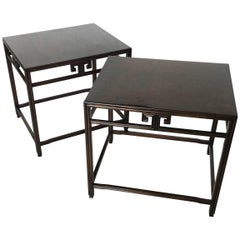 Stunning Pair of Ebonized Side Tables Michael Taylor for Baker