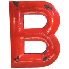Vintage Red Enamel Letter B, 1930s