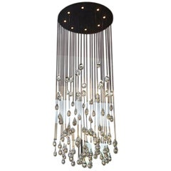 Large Clear Light Drop Chandelier by Studio Bel Vetro