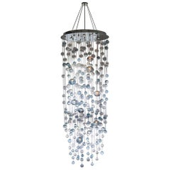 Floating Bubbles Chandelier in Steel Blue by Studio Bel Vetro