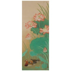 Japanese Scroll Painting, 'Crimson Lotus', Kobayashi Kahaku