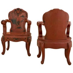 Pair of Chinoiserie Red Lacquered Wood Thrones