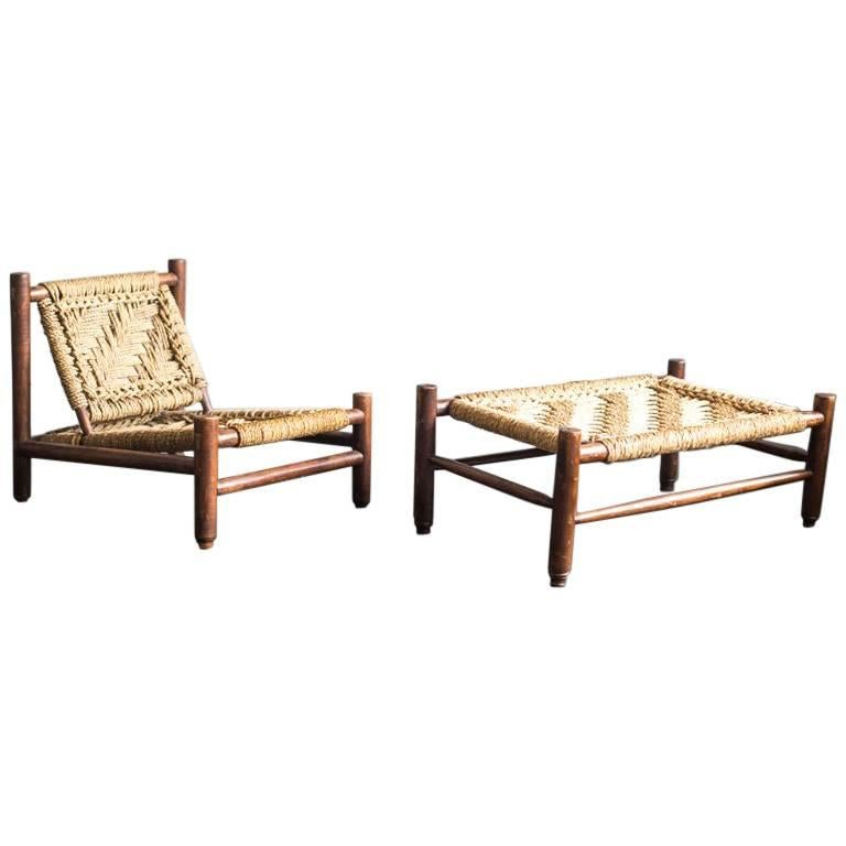 Set of Armchair and Table by Audoux-Minet For Sale