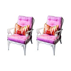 Pair of Wrought Iron Garden Armchairs with Fuchsia Fushions