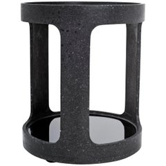 Black Concrete Open Bar Side Table by Oso Industries