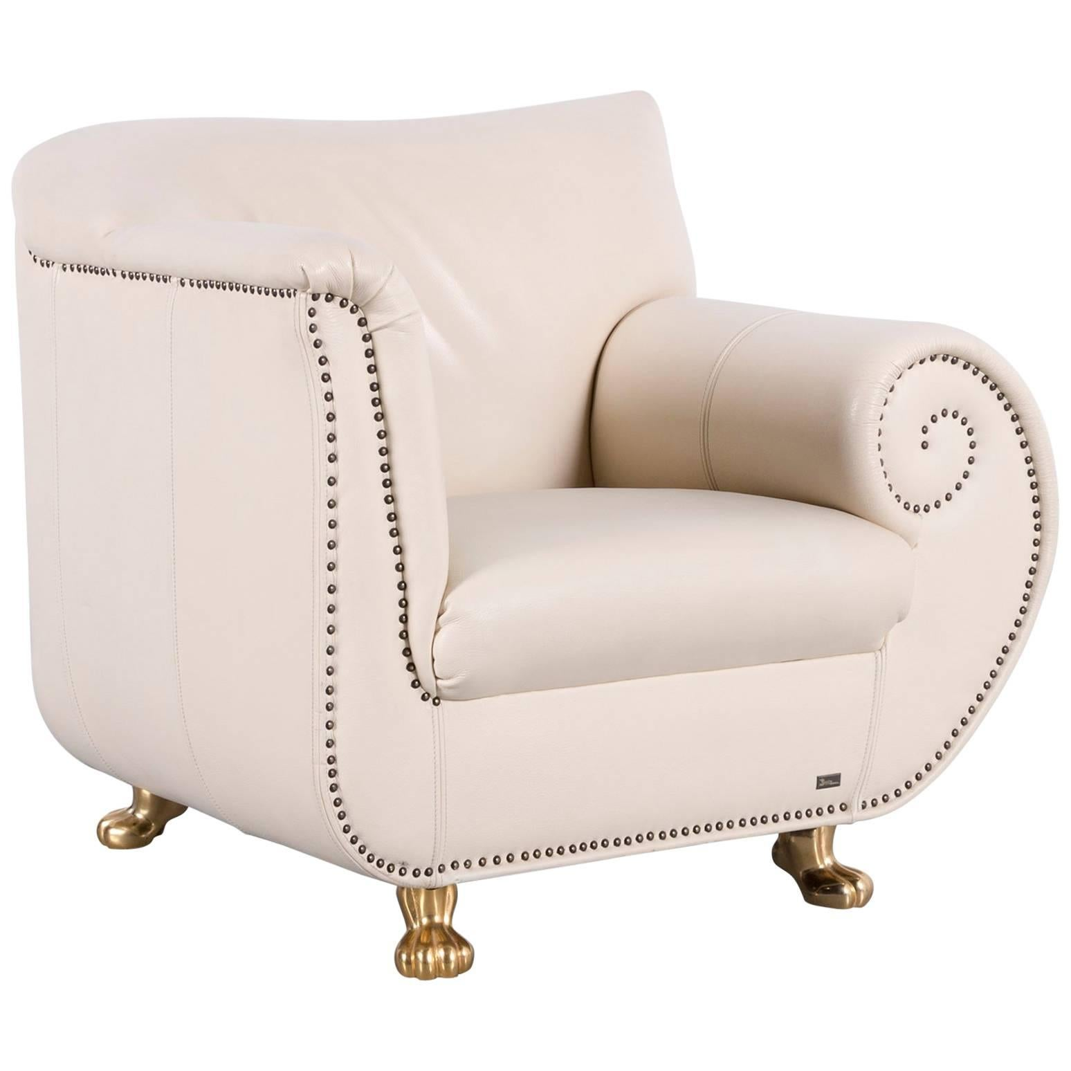 Bretz Gaudi Leather Armchair Off White One Seat For Sale