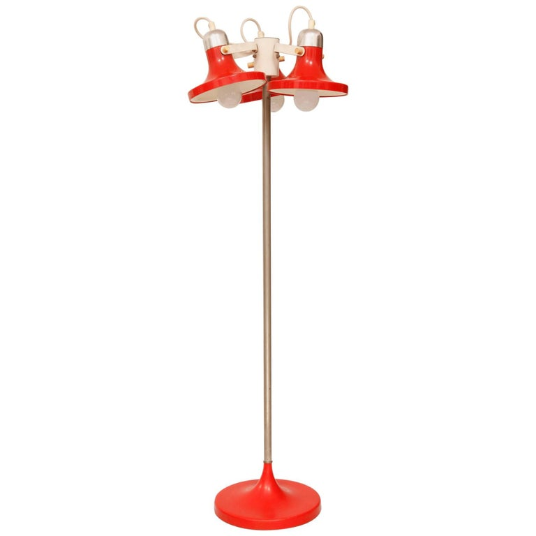 Three-Shade Red Floor Lamp from Kuspi, Space Age in East Germany ...