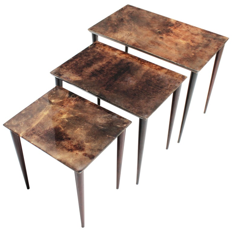 Set of Three Aldo Tura Parchment Nesting Tables For Sale