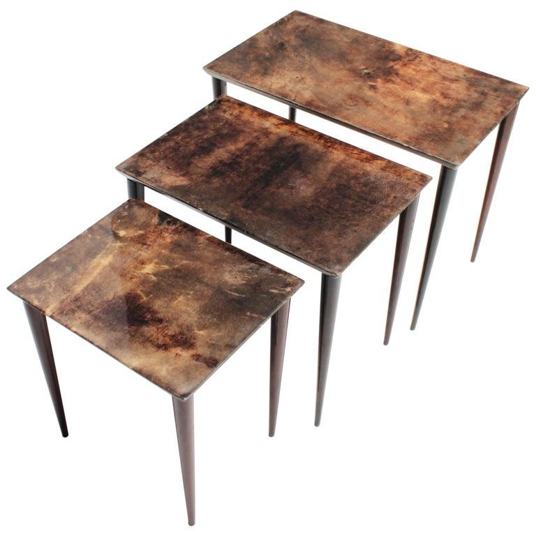 Set of Three Aldo Tura Parchment Nesting Tables
