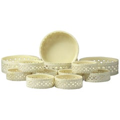 Antique English Creamware Pottery Coasters, a Set of 12, 18th Century