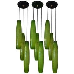 Three Pendant Chandelier by Alessandro Pianon for Vistosi, Murano, 1960