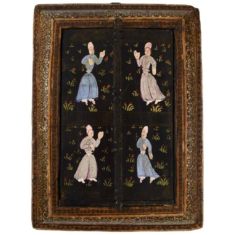 Antique Persian Travel Mirror, Intarsia Work, Dancing People, 19th Century