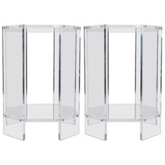 Pair of Lucite Octagonal Side Tables