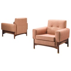 Lounge Chairs with Rosewood Frame and Brass Feet