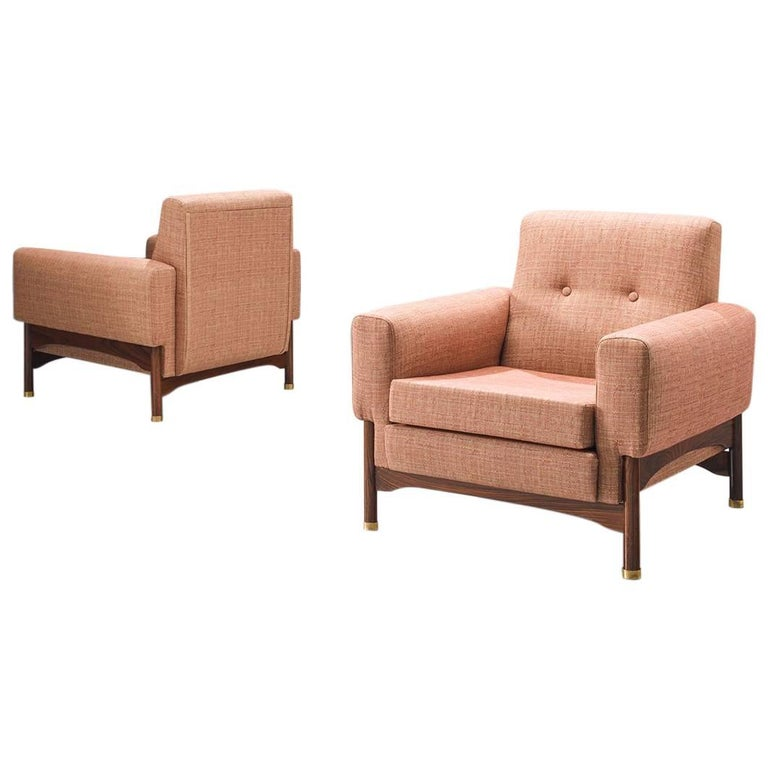 Saporiti Lounge Chairs with Rosewood Frame and Brass Feet