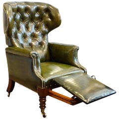 William IV Leather Button Back Reclining Patent Library Chair