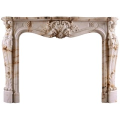 Fine Quality French Louis XV Style Fireplace in Paonazzo Marble