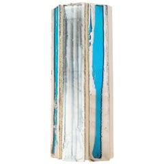 Trilogy Wall Sconce Art Glass Acqua Silver Glass Sheets Metal Body