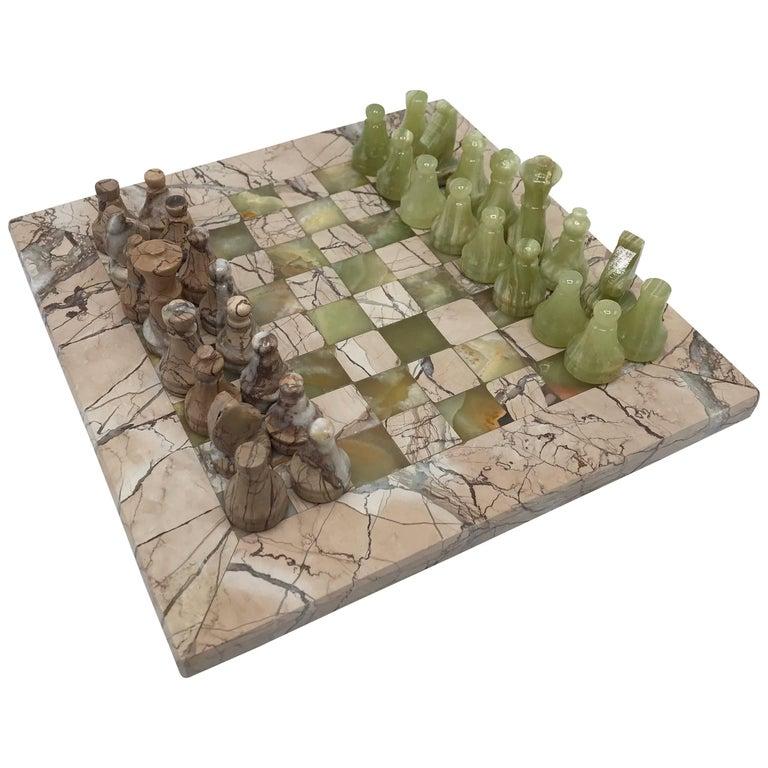1970s Italian Marble and Onyx Chess Set