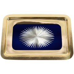 Beautiful Hammered Art Deco Serving Plate with Cut-Glass, circa 1920s