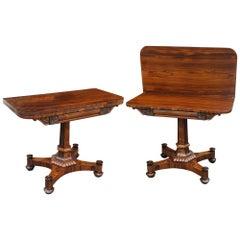 Pair of Regency Rosewood Tea Tables