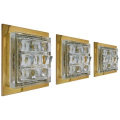 Set of Three Glass and Brass Wall or Ceiling Lights Sconces Flush Mounts, 1960s