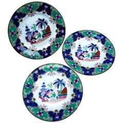 Three Boch Freres Keramis Faience Plates with Oriental Decor