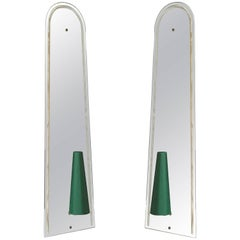 Pair of Huge Italian Midcentury Wall Mirrored Sconces with Dark Green Shades
