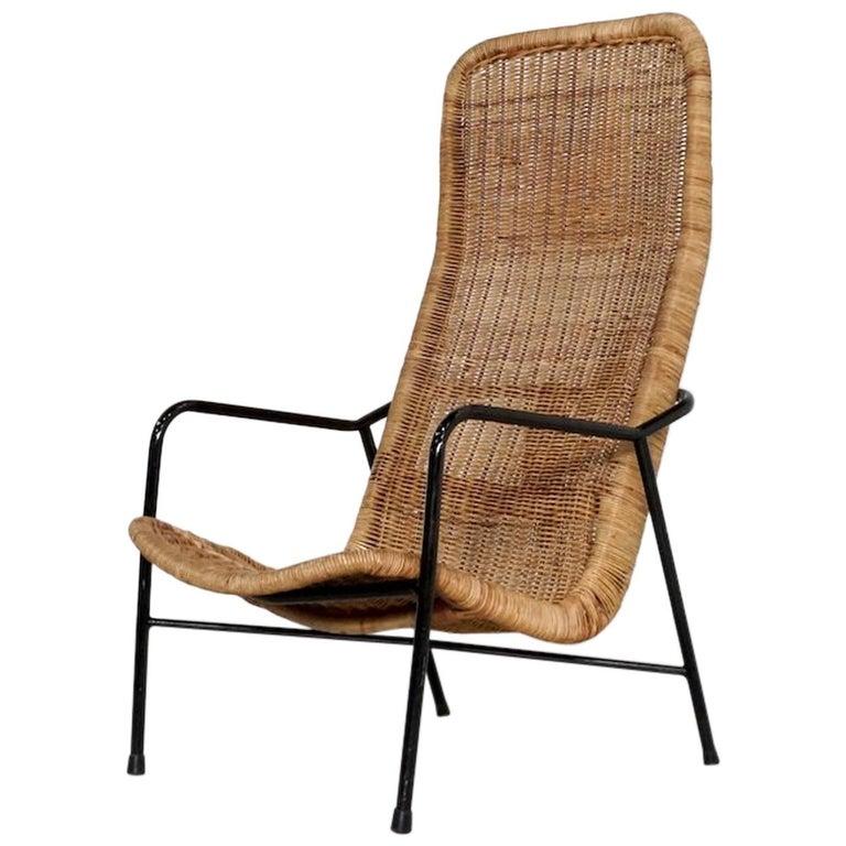 Dirk Van Sliedregt Rattan Easy Chair Model 514A Made in 1952