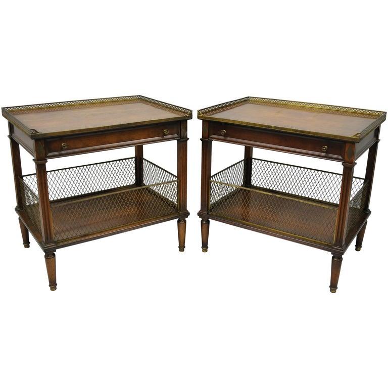 French Louis XVI Directoire Maison Jansen Style Oversize Walnut End Tables, Pair
