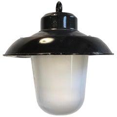 Vintage Black Enamel Factory Hanging Lamp, 1960s