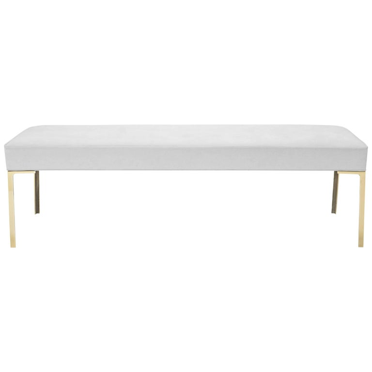 Astor Brass Bench in Dove Luxe Suede by Montage