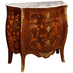 French Dresser in Inlaid Wood with Marble Top in Louis XV Style, 20th Century