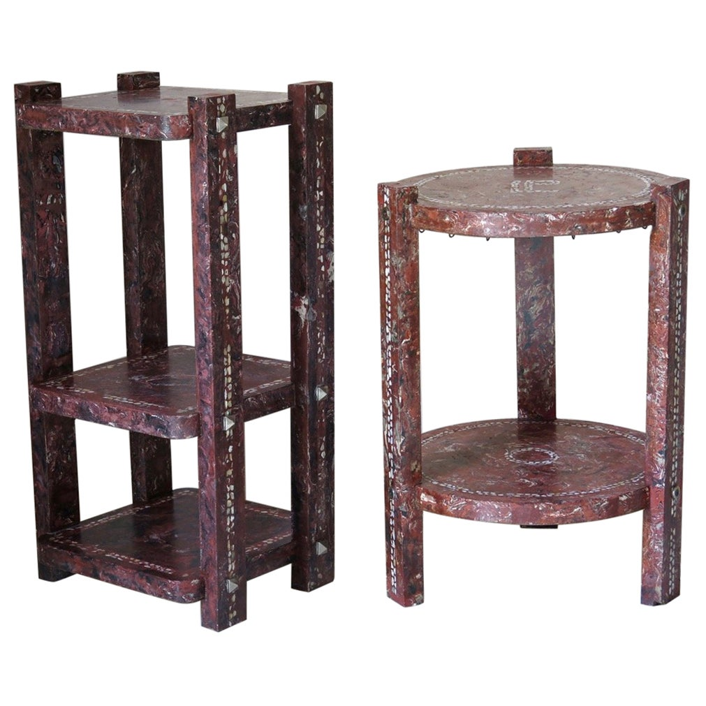 Pair of French 1930s Terrazzo Side Tables