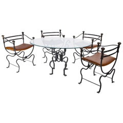 Iron Table and Chairs, Italy, 1950s