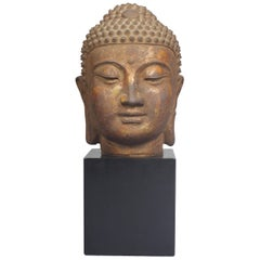 Head of Buddha in Cast Iron, China, Ming Dynasty, 16th-17th Century