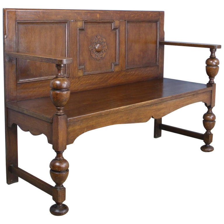 Antique Oak Bench with Medallion