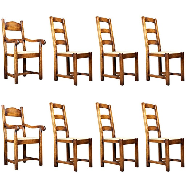 Set of Eight Dining Chairs, English Oak in Victorian Taste, Rush Seats