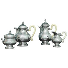 Miracoli Romeo 20th Century Silver and Ivory Art Decò Tea Set, 1920s