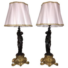 Pair of French Bronze Figural Table Lamps Neoclassical Style Pleated Silk Shades