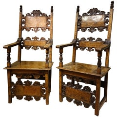 Pair of Large 17th Century Armchairs, Lombardy or Tuscany, Italy, 17th Century