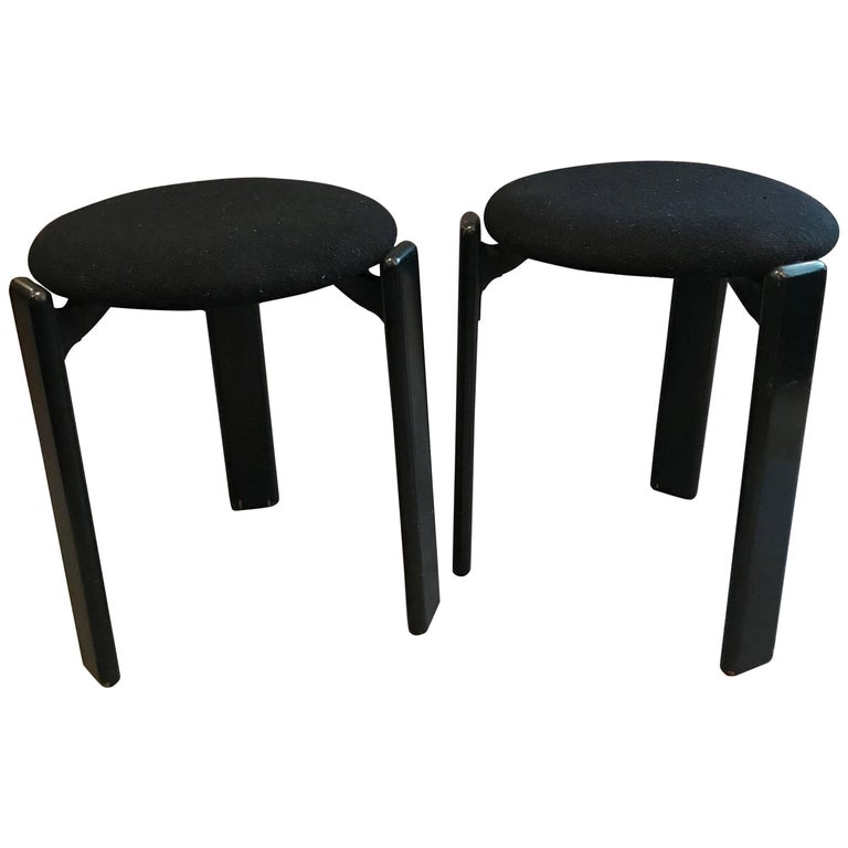 Pair of Upholstered Stools by Bruno Rey for Stendig