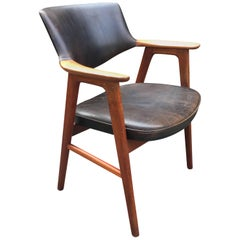 Solid Oak and Leather Desk or Armchair by Erik Kirkegaard