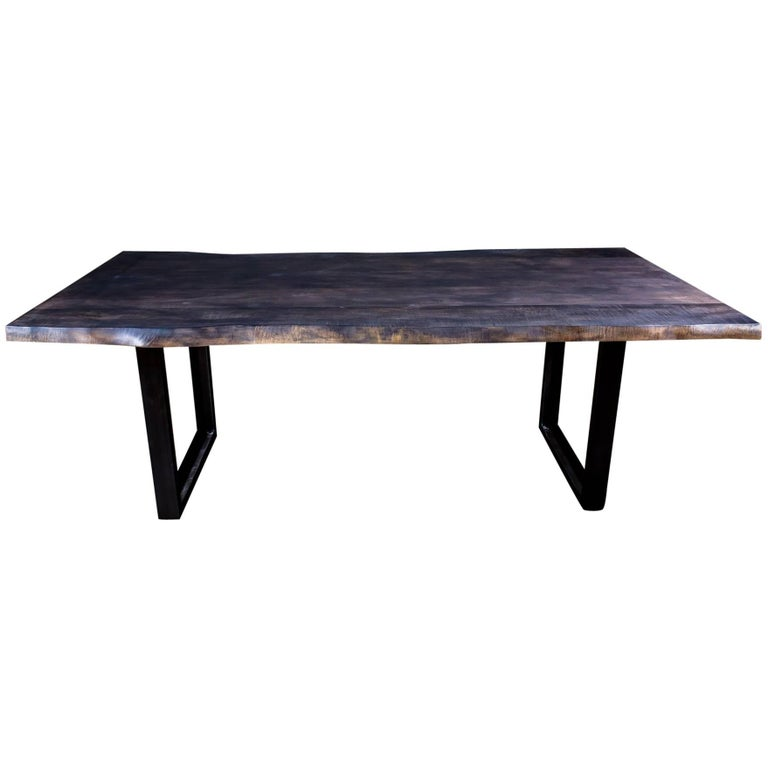 Stained Live Edge Maple Dining Table On U Shape Steel Legs For