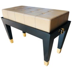Custom Black Lacquer Piano Bench with Gold Rings Detail