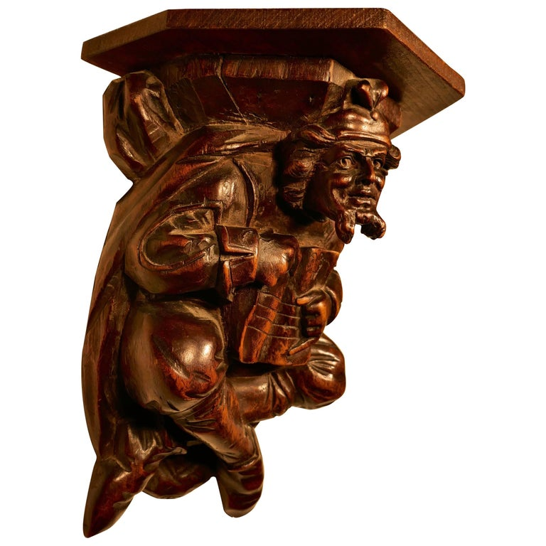 19th Century Carved Walnut Wall Bracket, Medieval Magician