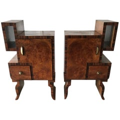Marvellous Pair of Cubist 1930s Art Deco Burl Walnut and Macassar Nightstands