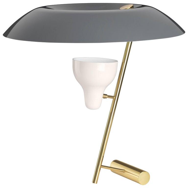 Gino Sarfatti Model #548 Table Lamp in Gray & Polished Brass
