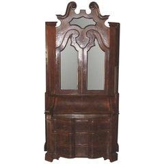 Italian Burl Walnut Secretary Bookcase, circa 1920